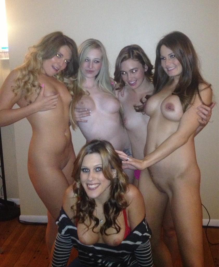 Four Naked Girls Sharing Stepbrother's Dick
