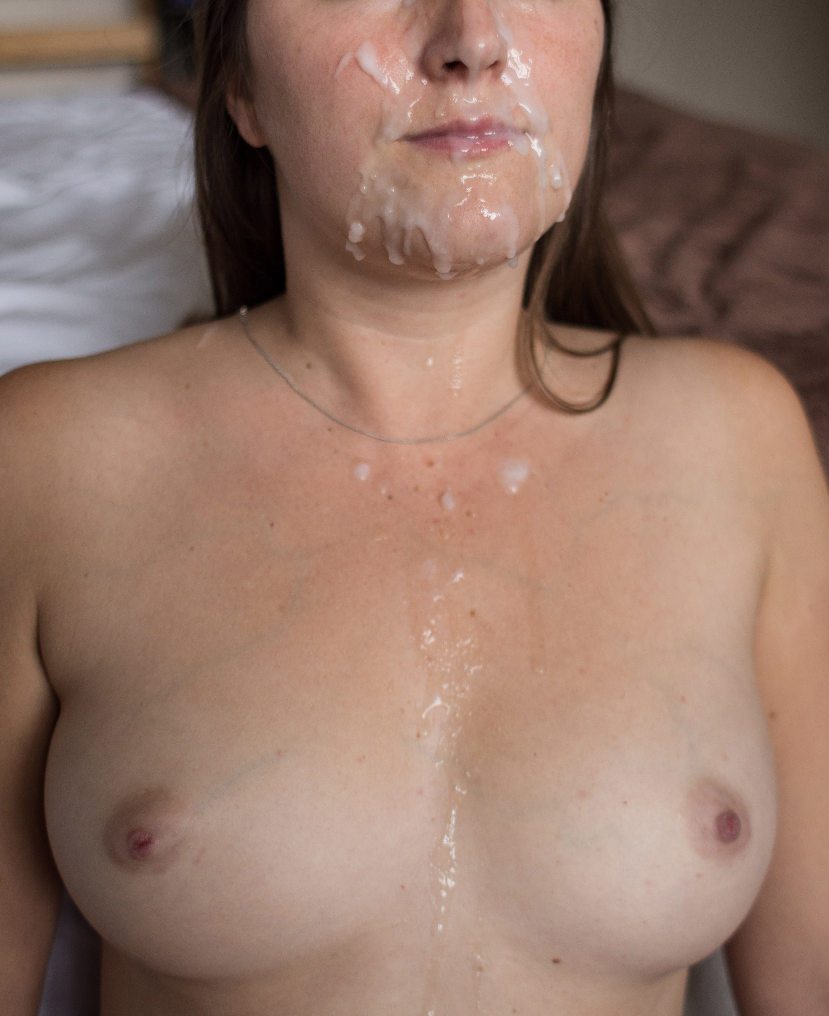 Naked girl got fucked and covered in cum in the